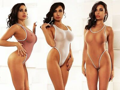 7a05be5385400 Exotic One Piece Swimsuit Extreme Transparent Bodysuit Thong High Cut  Monokini
