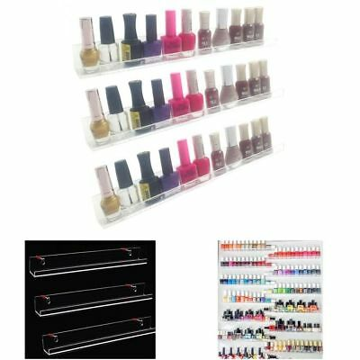 Nail Polish Wall Rack Acrylic Organizer 33-45 Bottles Display Holder Stand Clear