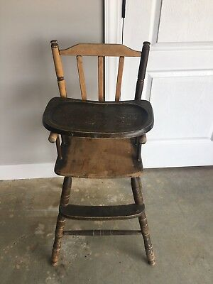 Vintage Antique Wooden Wood Baby Feeding High Chair W Tray 8500