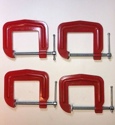 """Stanley  Handyman H155 C Clamps 2-1/2 x 2-1/2"""" USA ... NEW - Vintage ... 4 Pack"""