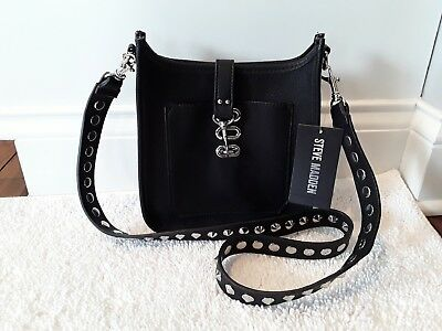 bbeceb2030f4 NWT STEVE MADDEN Bwylie Black Crossbody With Silver Studs Buckle Closure