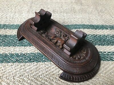 A Fine Carved Anglo Indian Sandalwood Pen Rest From Mysore