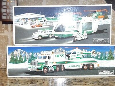 Hess Helicopter Truck Bundle 1995 & 2001 Set of 2, Mint in Box, New Batteries!
