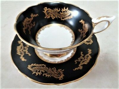 Footed  Cup Saucer Royal Stafford Gold Dragon Ware Dragons On Matte Black Satin