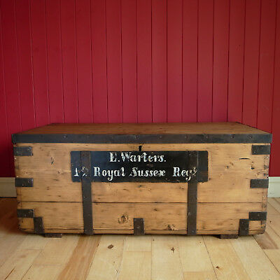 ANTIQUE CAMPAIGN CHEST Coffee Table STORAGE TRUNK Military WW1 Chest WOODEN BOX