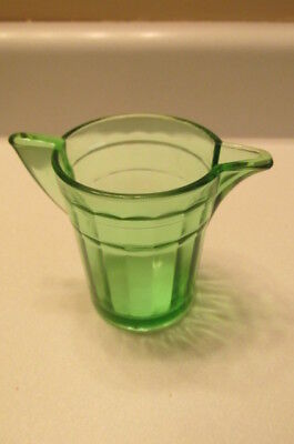 Childs Akro Agate Green Glass Children Panel Ring Pitcher