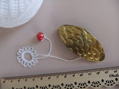 1 Old? Vintage? Copper & Brass Tatting Shuttle 2 in 1 Frivolite Making Lace RARE