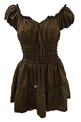 Gypsy Renaissance Wench Pirate Woodland Fairy Boho Smocked Blouse TAUPE L/XL