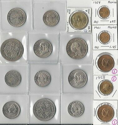 Mexico. Vintage Lot Of 17 Assorted Mexican Coins. Unucirculated. See Pics