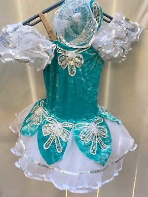 Dance Costume Small Child Ballet Tap Teal White Silver Solo Competition Pageant