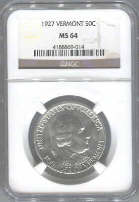 1927 Vermont Silver Commemorative Half Dollar NGC MS64