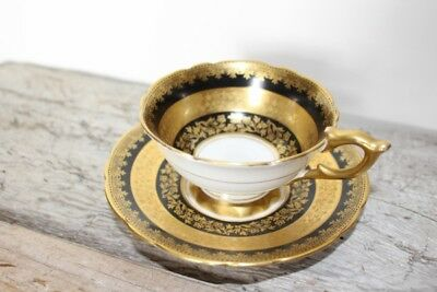 Gorgeous - Royal Stafford Black & Gold Gilt Wide Mouth Teacup & Saucer