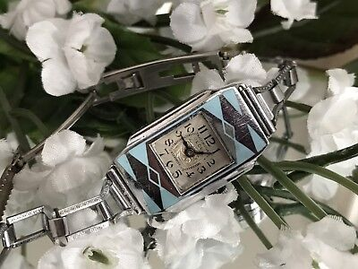 1930's Ladies Art Deco Schlup Blue Enamel Watch ~ Runs