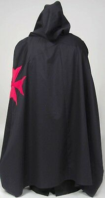 MEDIEVAL CRUSADER KNIGHT CAPE -Red Maltese X,Renaissance, Warrior  In Stock