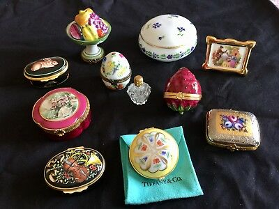 Stunning Set Of Ten Vintage Limoges Boxes Mostly Tiffany And Signed