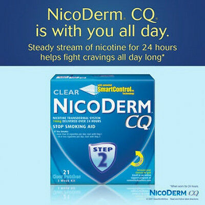 NicoDerm CQ Clear Step 2 - 14 mg Nicotine Transdermal System - 21 Clear Patches