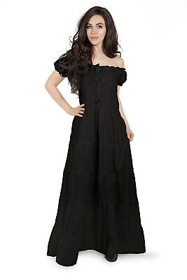 La Boheme Renaissance Boho Chemise Dress Unsmocked Gown Black