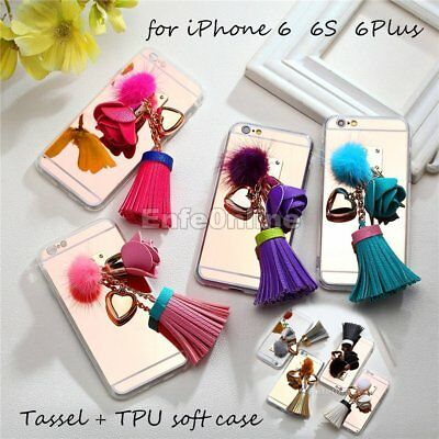 For iPhone 6S 6 Plus Cute Girl Slim Fashion Leather Tassel TPU Mirror Case Cover
