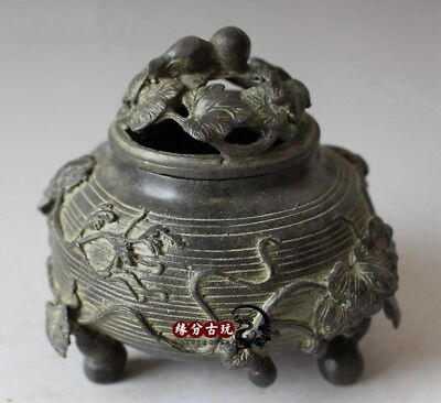 China Exquisite Old Handwork Bronze Incense Burners Gourd  Lid Jar