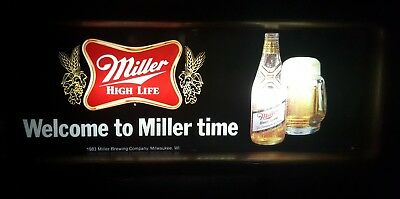 "1989 Miller High Life Beer -   ""WELCOME TO MILLER TIME"" -  Lighted Bar Sign"