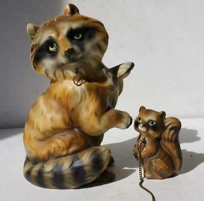 Raccoon Figures Set of 2 Mommy-Baby Chain Wales Made in Japan Adorable Ceramic