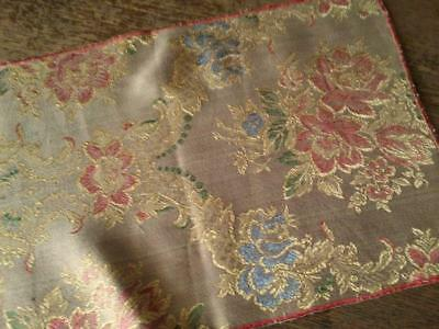 Antique Table Runner Silk Brocade Blue & Red Floral Gold Accents 43x11