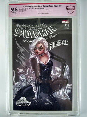 """Amazing Spider-Man #11 Black Cat Renew Your Vows """"a"""" Scott Campbell Cbcs 9.6"""