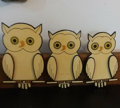 VINTAGE Mid Century Three Dimensional OWL Family Wall Hanging Decorations