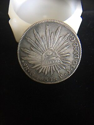1837 Go pj MEXICO SILVER 8 REALES RARE 3 DOTS AFTER DATE .: SCARCE CAP & RAYS.AU
