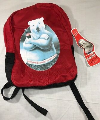 VTG 1996 Coke Backpack Polar Bear Coca Cola Red Bag Nylon NWT 90's Pop Soda