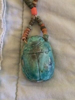 EGYPTIAN SCARAB BEETLE TURQUOISE Clay Stone BEADS NECKLACE Vintage