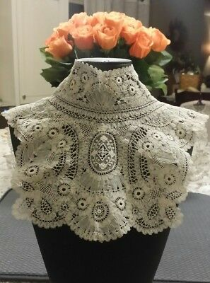 Hm Antique Belgian Brussels Duchesse Point De Gaze Lace High Neck Collar