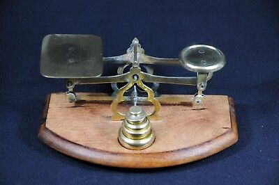 Antique Miniature Postal Scale Brass on wood base with Brass Weights