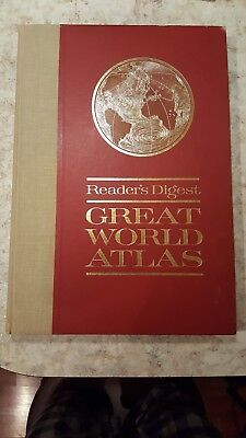 Readers Digest Great World Atlas 1963 Vintage Large Coffee Table Decor Maps