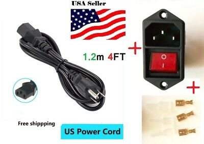 4Ft US cord+1Pcs IEC320 C14 ACPower Cord Inlet Socket With Rocker Switch