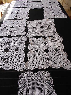 Selection Of 10 Exquisite Vintage Hand Made Doilies & Table Runner