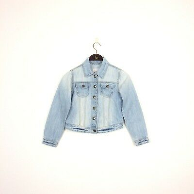 Girls NEXT Denim Jacket Light Blue Age 9 10 Years Height 140cm Jeans Faded Kids