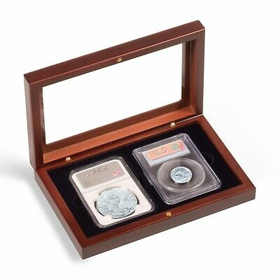 2 Certified PCGS NGC Slab Coin Wood Box w/ Glass Lid Safe Storage Display Case