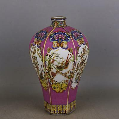 China antique porcelain Qing yongzheng famille rose flower bird hexagon vase
