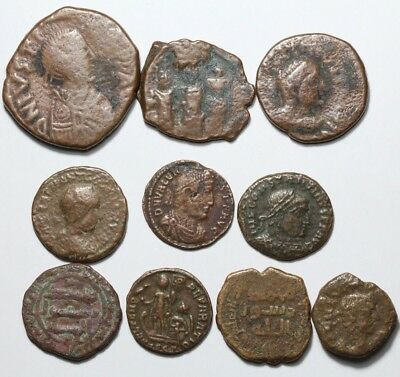 Lot of 10 Roman , Parthian , Byzantine and Islamic bronze coins