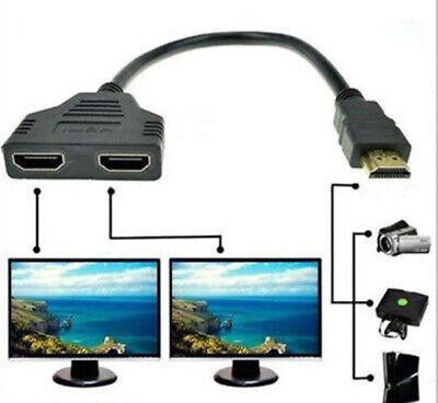 1080p HDMI Male to 2 HDMI Female Splitter Cable 1 in 2 Out Adapter up to 15M DVR