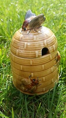 Vintage Retro Brown Bee Hive Honey Pot With Bumble Bee Pattern & Lid Collectable