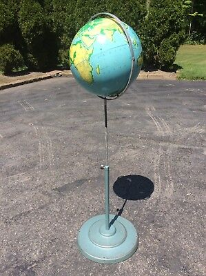 "Vtg 16"" Nystrom Pictorial Relief Globe - Adjusts 45"" To 60"" - Heavy Metal Base"