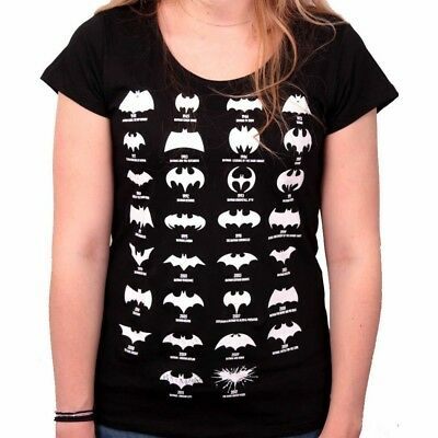OFFICIAL DC Comics Batman Logo Evolution Black Ladies Womens T-Shirt Top (NEW)