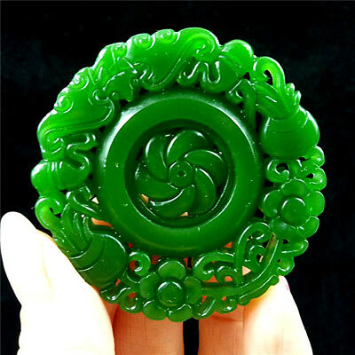 China hand-carved Green jade arrival good luck jade pendant Necklace Amulet