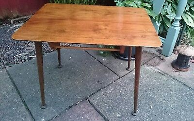 1950s Vintage Oak Veneer Coffee TV Table Dansette Legs Mid Century Modernist