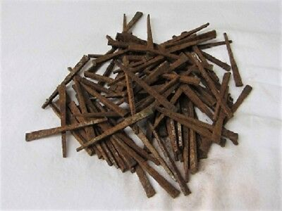 "ANTIQUE 19th Century SQUARE CUT STEEL 2 1/2"" NAILS--Lot of 200--PRIMITIVE"