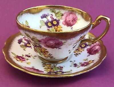 Foley 2726 Cup and Saucer Bone China Pink Purple Yellow Floral Gold Rim England