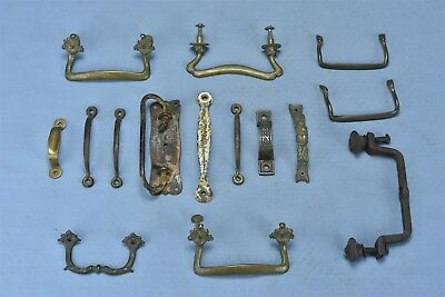 Antique MIXED LOT of 15 BRASS METAL DRAWER HANDLE PULLS HARDWARE STEAMPUNK 04750