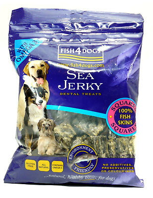 Fish4Dogs Gluten Free Dog Treats - Sea Jerky Squares 100g 4 Pack Deal